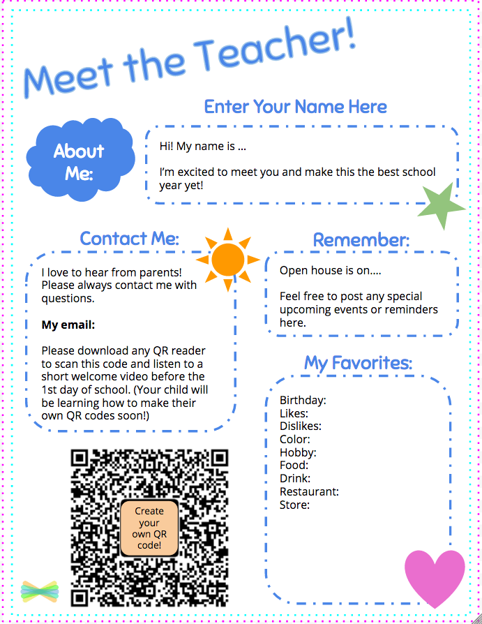 Meet the teacher template with Seesaw printable welcome note