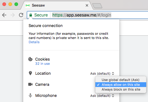 How to give camera, mic and push notifications permissions to Seesaw